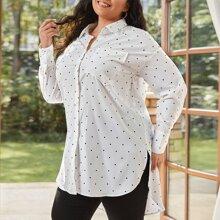 Bluse mit Punkten Muster, Taschen vorn und Stufensaum