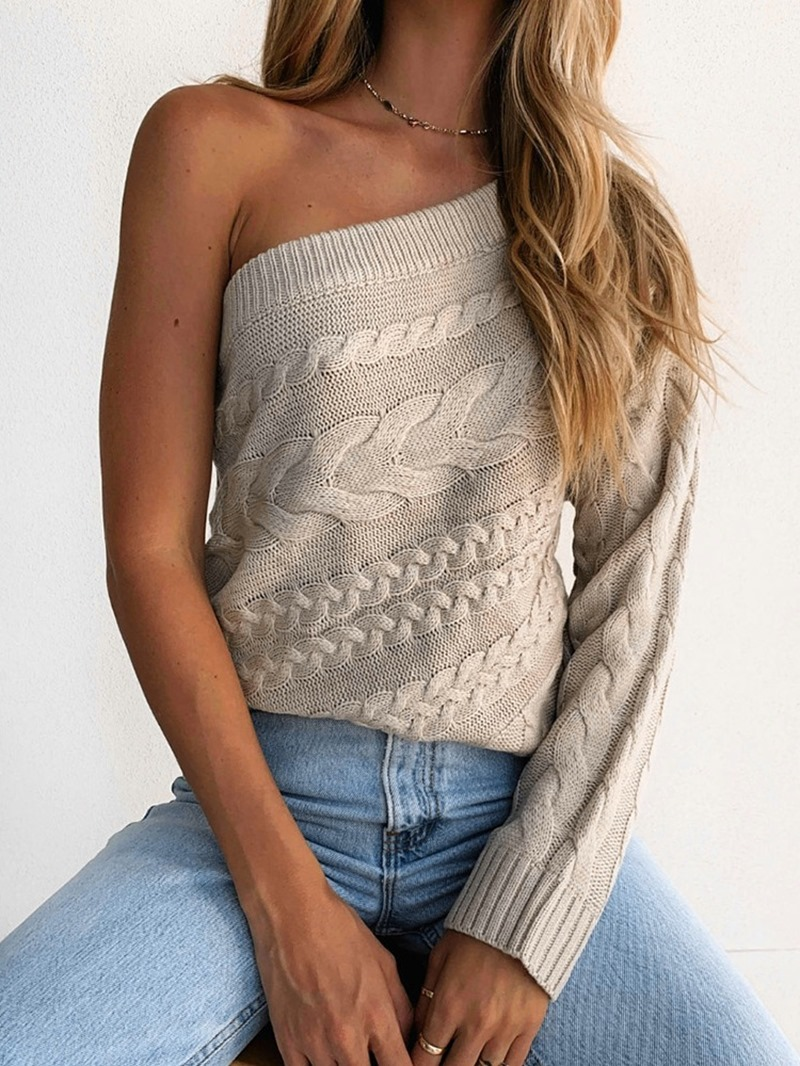 Ericdress Thin Asymmetric Regular Winter Oblique Collar Sweater