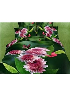 3D Pink Flowers and Butterfly Printed Cotton 4-Piece Bedding Sets/Duvet Covers
