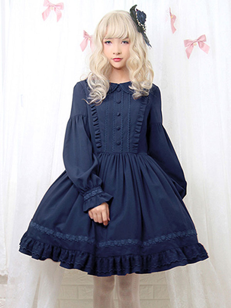 Milanoo Sweet Lolita OP Dress Ruffles Long Sleeves Lolita One Piece Dresses