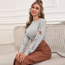 Floral Embroidered Sleeve Sweater