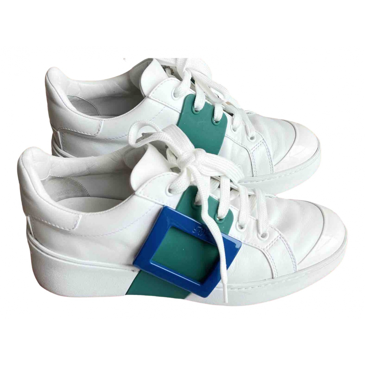 Roger Vivier \N White Leather Trainers for Women 38 IT