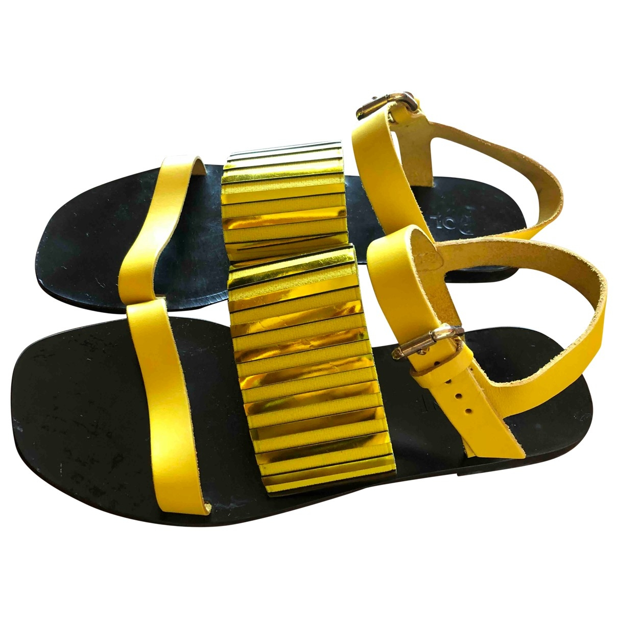 Pollini \N Yellow Leather Sandals for Women 37 IT