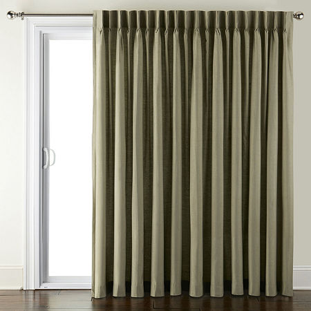 JCPenney Home Supreme Energy Saving Light-Filtering Pinch-Pleat Single Patio Door Curtain, One Size , Green