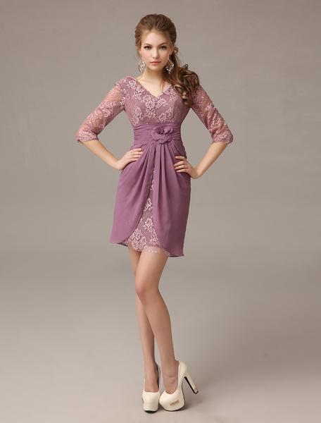 Milanoo Elegant Lilac Chiffon Lace V-neck Mother of The Bride Dress