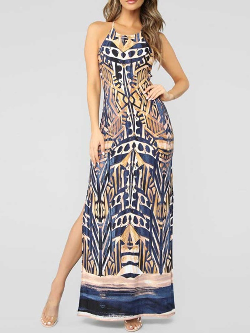 Ericdress Print Sleeveless Floor-Length Backless Mid Waist Geometric Dress