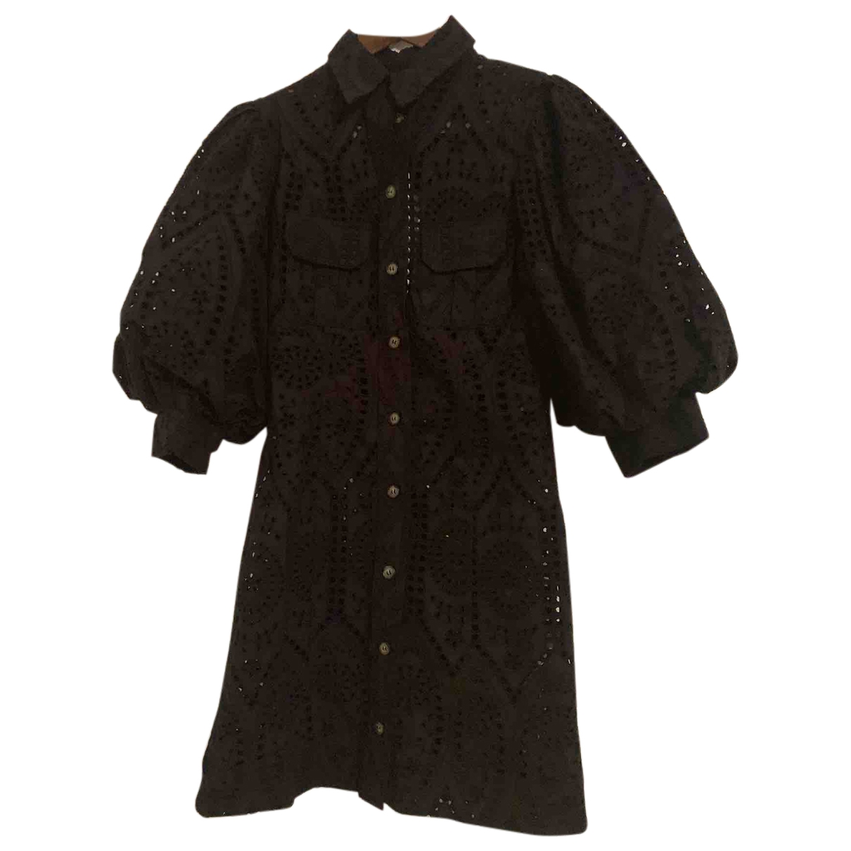 Ganni - Robe   pour femme en coton - noir