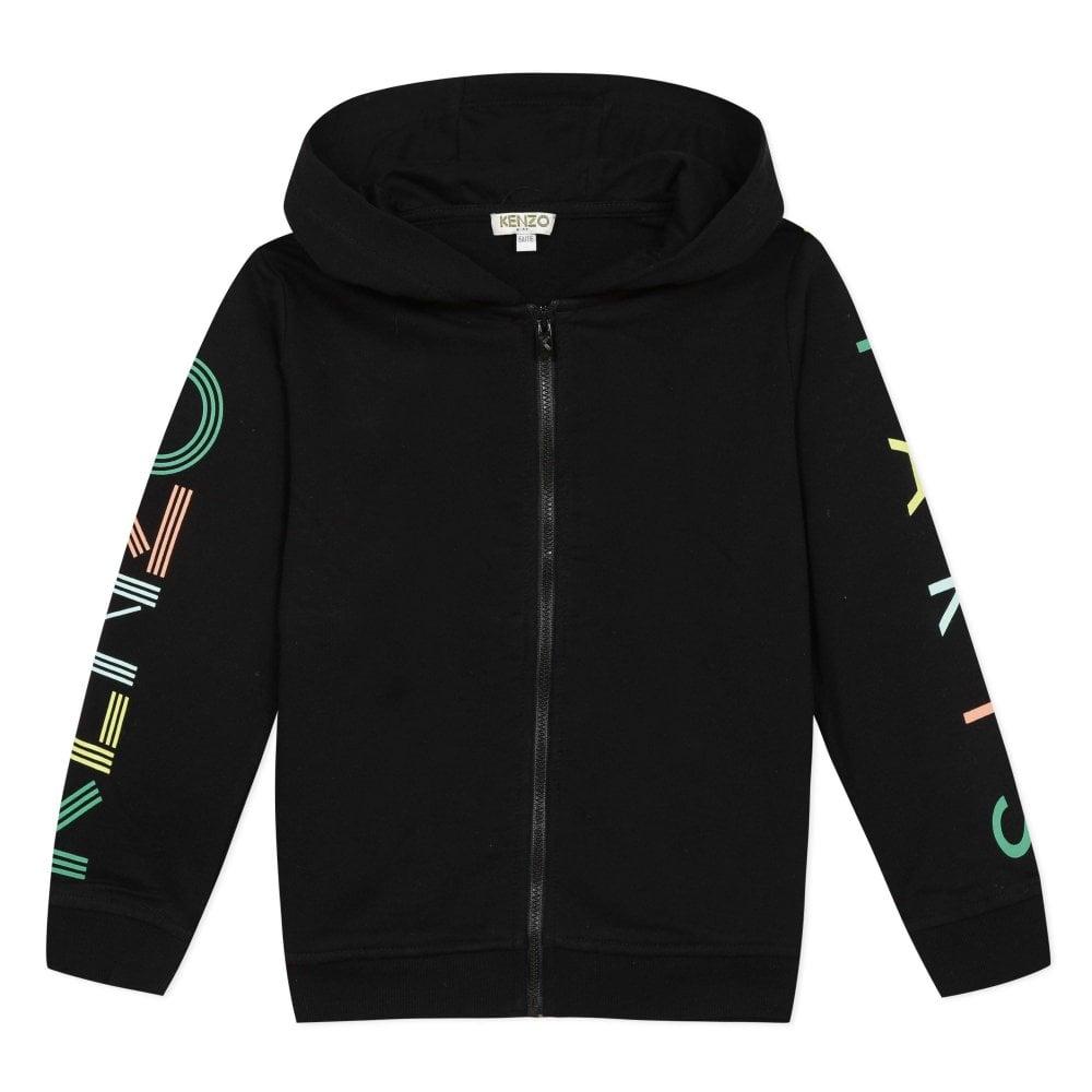 Kenzo Kids Paris Logo Zip Hoodie Black Colour: BLACK, Size: 10 YEARS