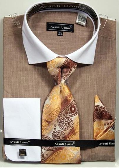 Mens Beige Textured Pattern French Cuff Cotton Shirt Tie & Hanky Set