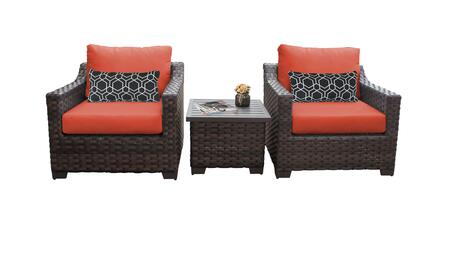 RIVER-03a-TANGERINE Kathy Ireland Homes and Gardens River Brook 3-Piece Wicker Patio Set 03a - 1 Set of Truffle and 1 Set of Persimmon