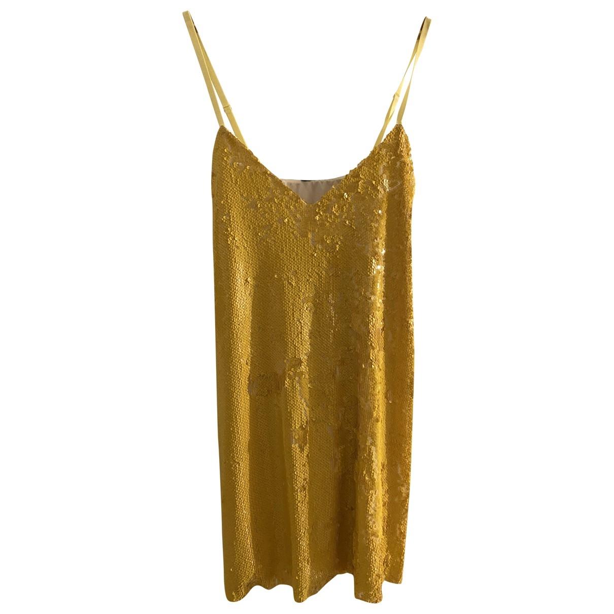 Non Signe / Unsigned \N Kleid in  Gelb Mit Pailletten