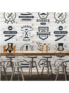 3D Tools in Barber Shop on Brick Background Sturdy Waterproof Eco-friendly Wall Mural