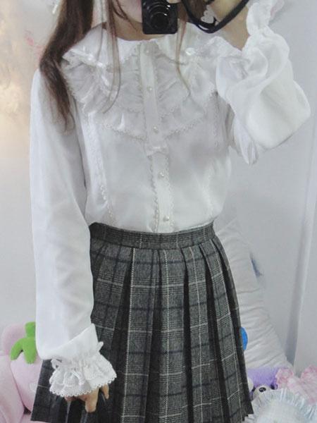 Milanoo Classic Lolita Shirt Lace Ruffle Pearl Chiffon White Lolita Blouse