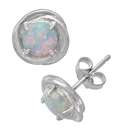 Lab Created White Opal Sterling Silver 9.5mm Stud Earrings, One Size , No Color Family