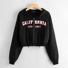 Sweatshirt mit Buchstaben Grafik, Reissverschluss und Kapuze