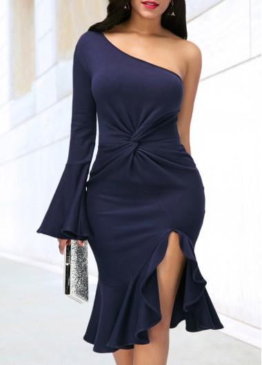Cocktail Party Dress One Sleeve Skew Neck Side Slit Dress - XS