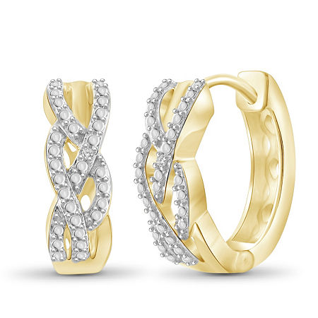 Diamond Accent White Diamond 14K Gold Over Brass 17.4mm Round Hoop Earrings, One Size , No Color Family