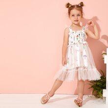 Toddler Girls Floral Mesh Panel Shirred Cami Dress