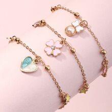 3 piezas brazalete de niñitas con corazon