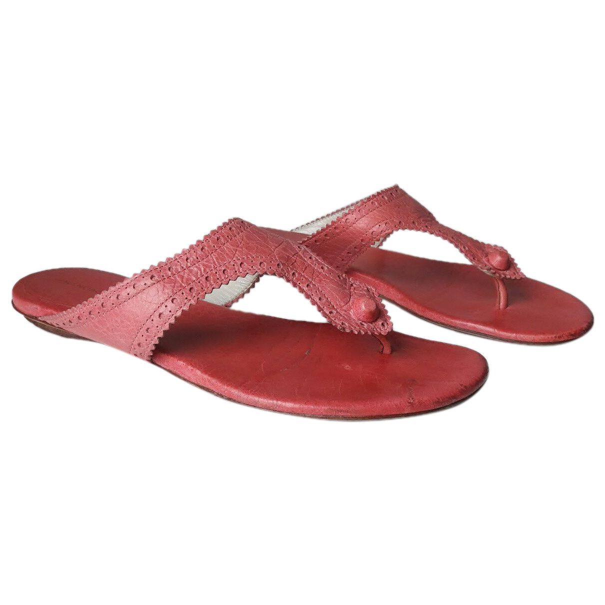Balenciaga \N Pink Leather Sandals for Women 37.5 IT