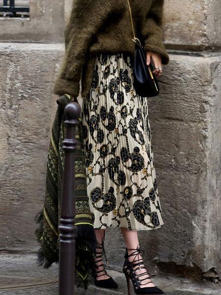Milanoo Skirt For Women White Printed Ruffle Chiffon Mid-calf Length Natural Waist Skirt