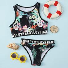 Girls Floral Letter Tape Bikini Swimsuit