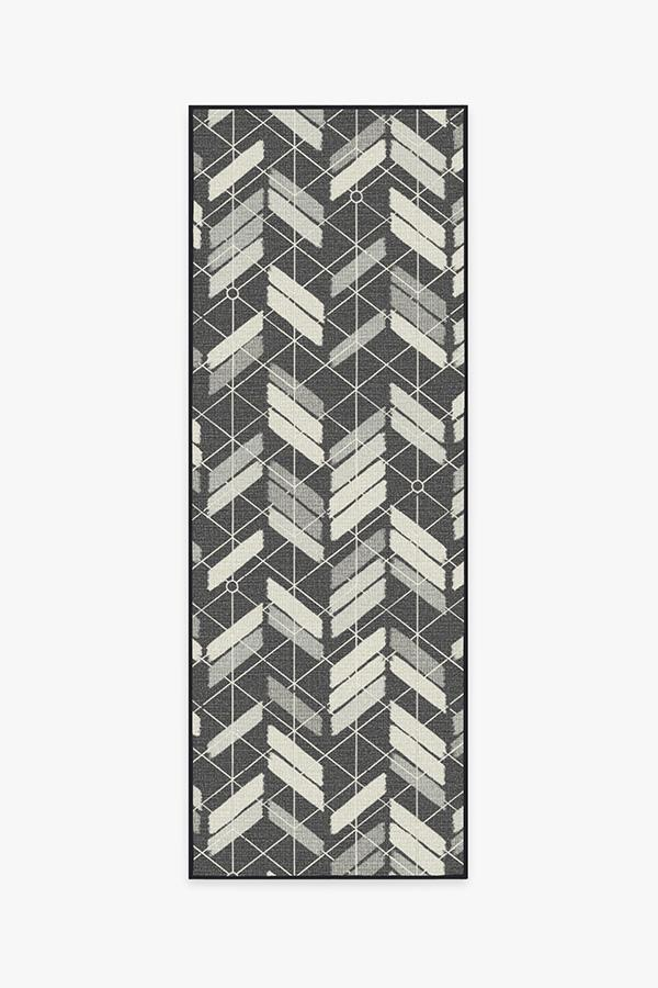 Washable Rug Cover | Outdoor Painted Chevron Black Rug | Stain-Resistant | Ruggable | 2.5x7