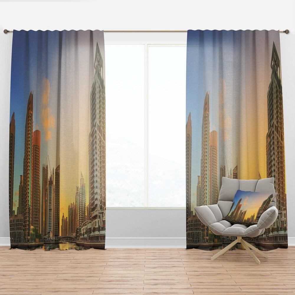Designart 'Dubai Marina bay with yacht' Cityscapes Curtain Panel (50 in. wide x 90 in. high - 1 Panel)