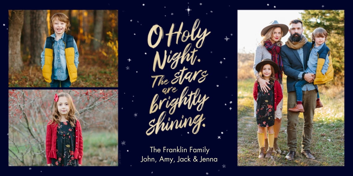 Christmas Photo Cards Flat Glossy Photo Paper Cards with Envelopes, 4x8, Card & Stationery -O Holy Night Photo Collage by Hallmark