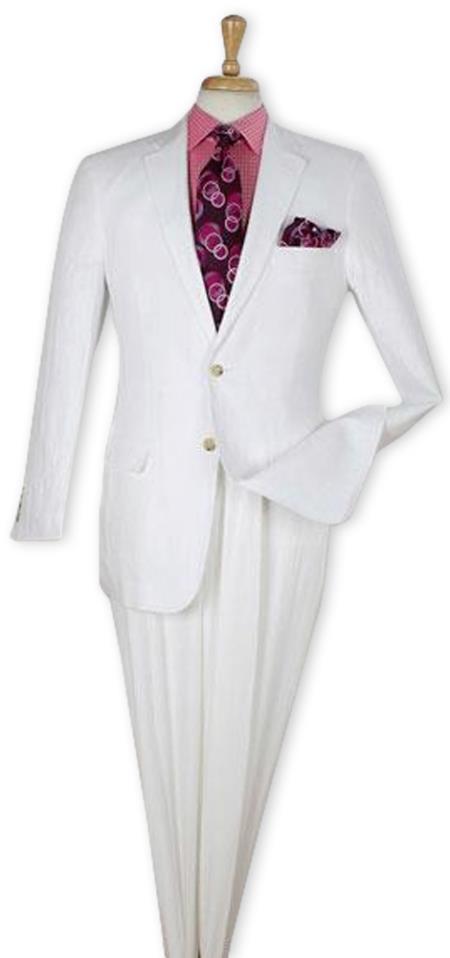Men's White 100% Linen 2 Piece Regular Fit Suit Flat Front Pants