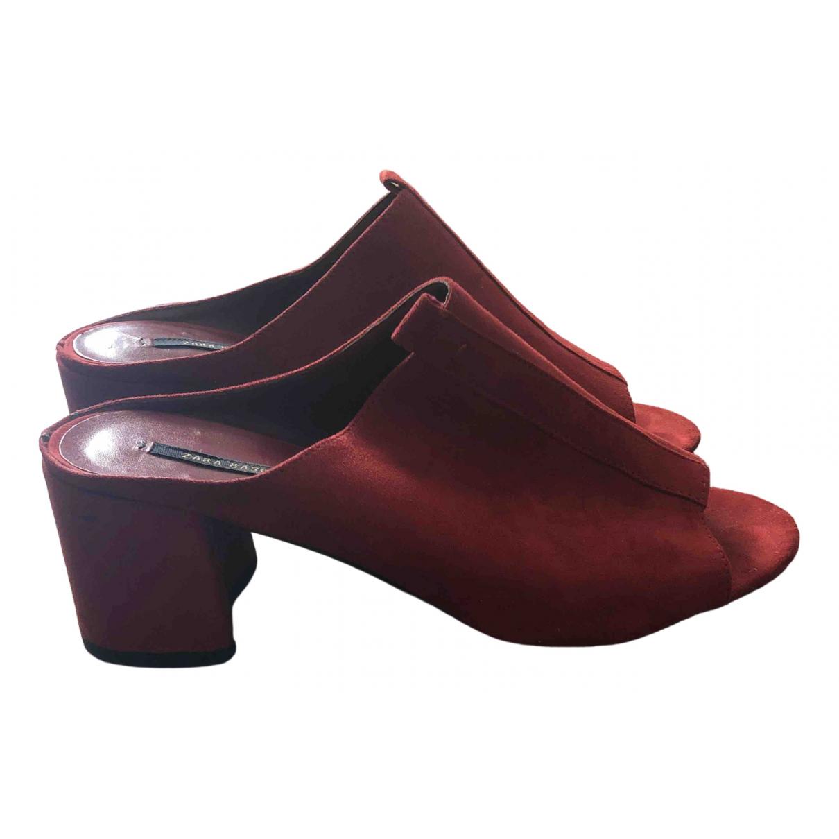 Zara - Sandales   pour femme en suede - rouge