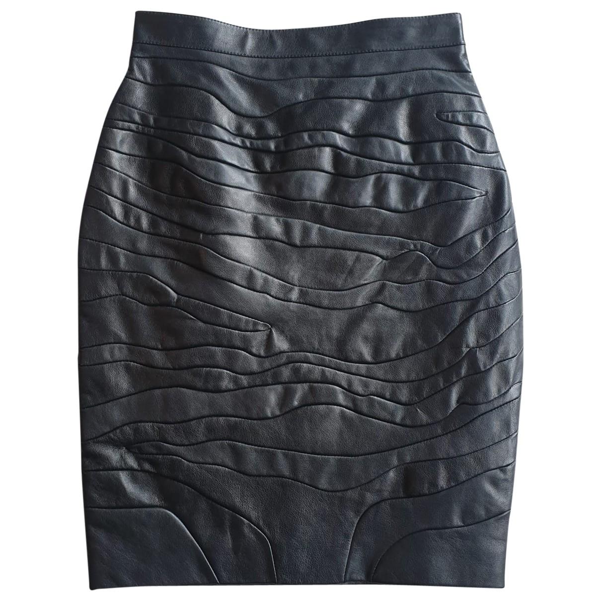 Mini falda de Cuero Saint Laurent