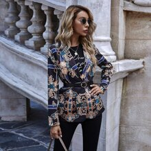Baroque Print Lapel Collar Blazer Without Belt