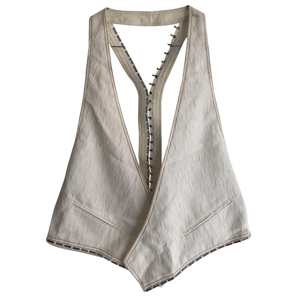 Versace - Top   pour femme en coton - blanc