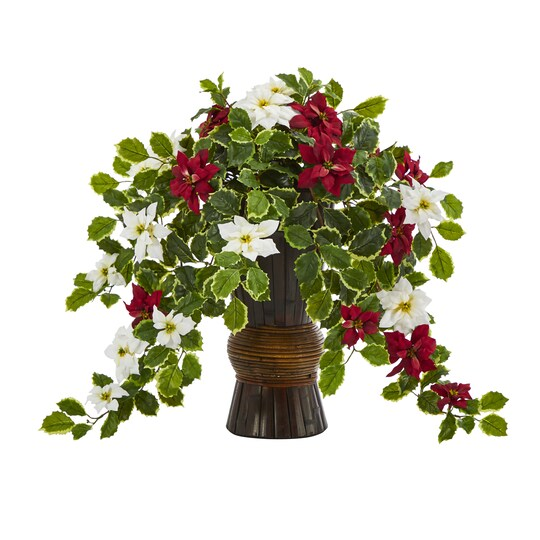 "22.5"" Poinsettia & Holly Artificial Plant In Decorative Planter By Nearly Natural 