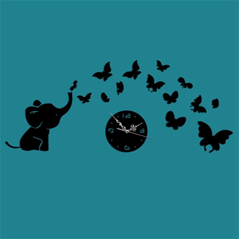 Elephant And Star Pattern 3 Color Simple Design 3D Acrylic DIY Specular Mute Wall Clock
