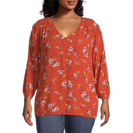 St. John's Bay-Plus Womens V Neck Long Sleeve Blouse, 4x , Orange
