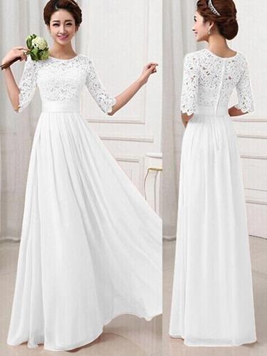 Milanoo Maxi Dress 2020 White Long Dress Lace and Chiffon Women Prom Dress With Sleeves