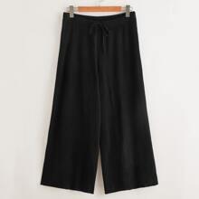 Pantalones tejidos de pierna ancha de cintura con cordon