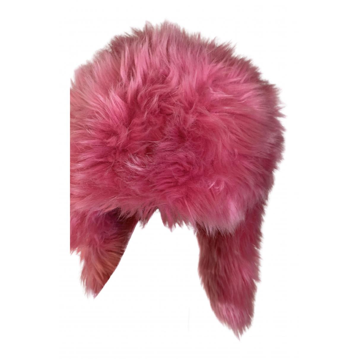 Prada - Chapeau   pour femme en fourrure synthetique - rose