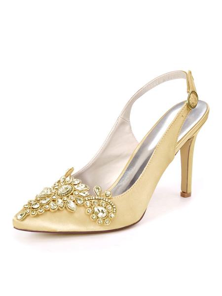 Milanoo Zapatos de boda blancos Zapatos de novia de tacon de aguja con punta puntiaguda de saten Zapatos de novia