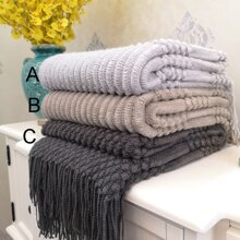 1pc Solid Knitted Blanket