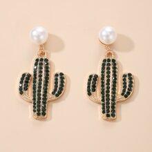 Pendientes largos con cactus con diamante de imitacion