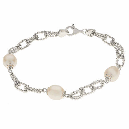 Cultured Freshwater Pearl Sterling Silver Station Chain Bracelet, One Size , No Color Family
