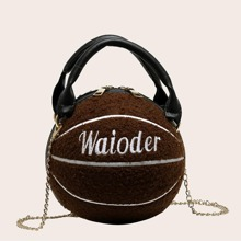 Letter Embroidered Ball Shaped Fuzzy Satchel Bag