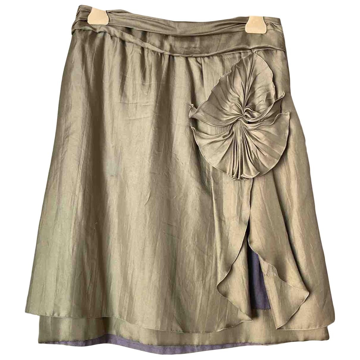 Miu Miu - Jupe   pour femme en soie - kaki