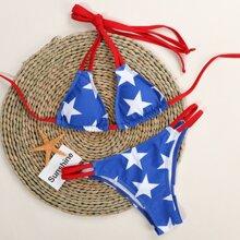 Bañador bikini triangulo halter con estampado de estrella