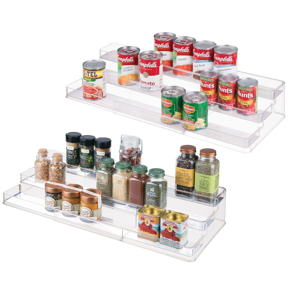 3 Tier Plastic Expandable Kitchen Spice Rack Organizer in Clear, 16.75