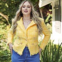 Blazer tweed con boton doble con perla ribete raido de cuello V