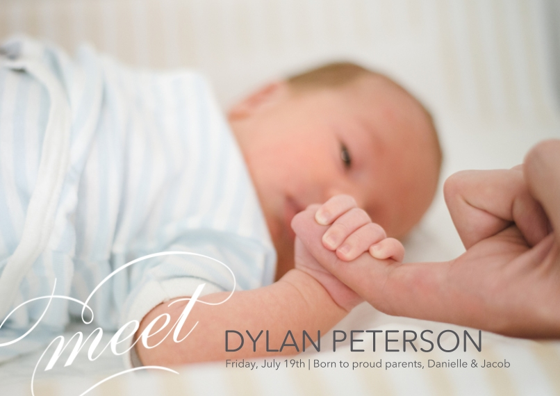 Baby Announcements 5x7 Cards, Standard Cardstock 85lb, Card & Stationery -Elegant Introduction